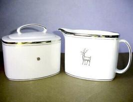 Kate Spade Donner Road Sugar Bowl & Creamer Reindeer Platinum Trim New - $108.90