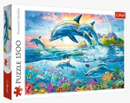 "NEW Trefl Puzzle Jigsaw 1500 Pieces ""Dolphin Family"" FREE SHIPPING - $53.89"