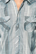 LW Men's Classic Checkered Striped Western Rodeo Pearl Snap Button Up Shirt image 9