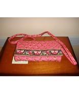 Vera Bradley Pink Pansy Crossbody Strap Wallet - $57.99