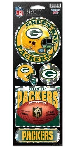 GREEN BAY PACKERS PRISMATIC HOLOGRAPH STICKER DECAL SHEET OF 5 NFL FOOTBALL