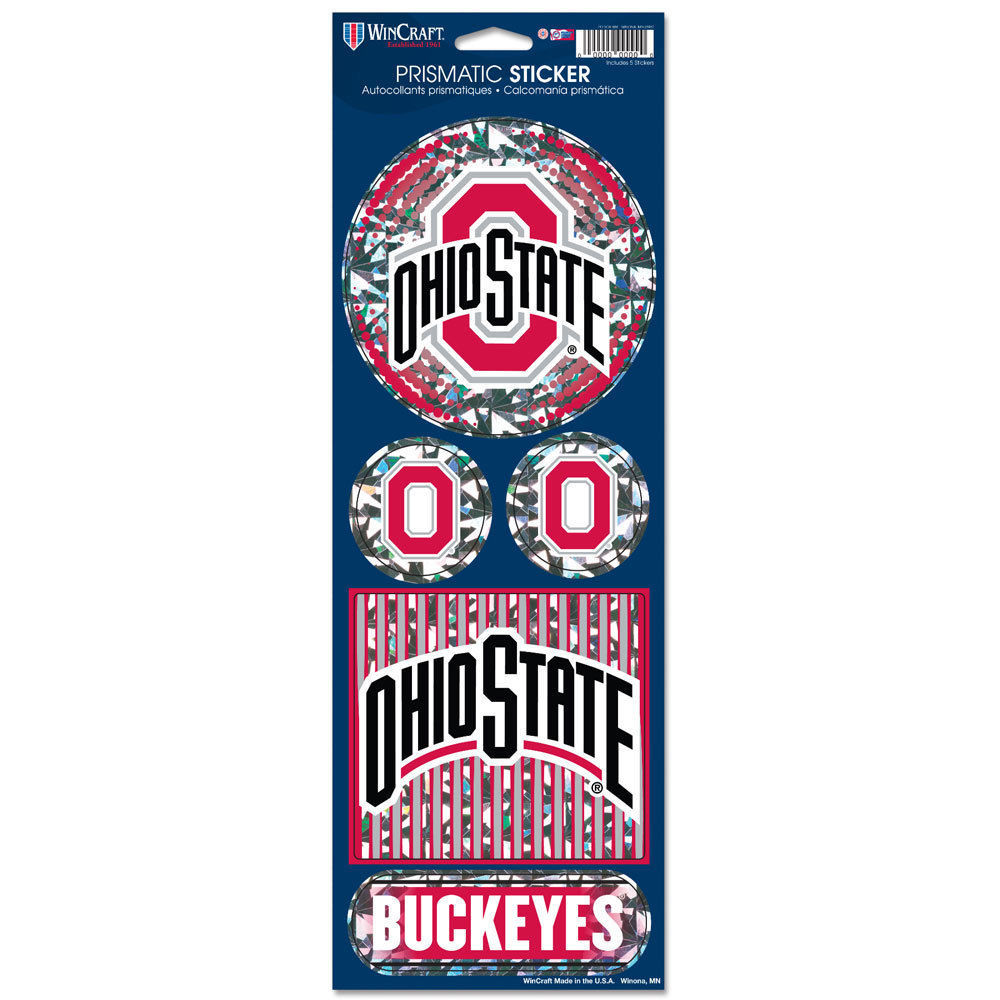 OHIO STATE BUCKEYES PRISMATIC HOLOGRAPH STICKER DECAL LABEL SHEET OF 5 NCAA