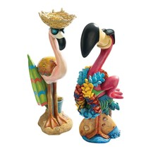 Pink Flamingo Garden Statues Hand Painted 1 1/2 Ft Tall Patio Garden Gift - $79.17