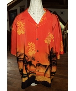 Men's Large Hawaiian Shirt Orange Yellow Palms Hammock Pineapples Mystic... - $12.00