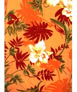 Men's Hawaiian Shirt Orange Flowers Floral Caribbean Joe Large  - $12.00