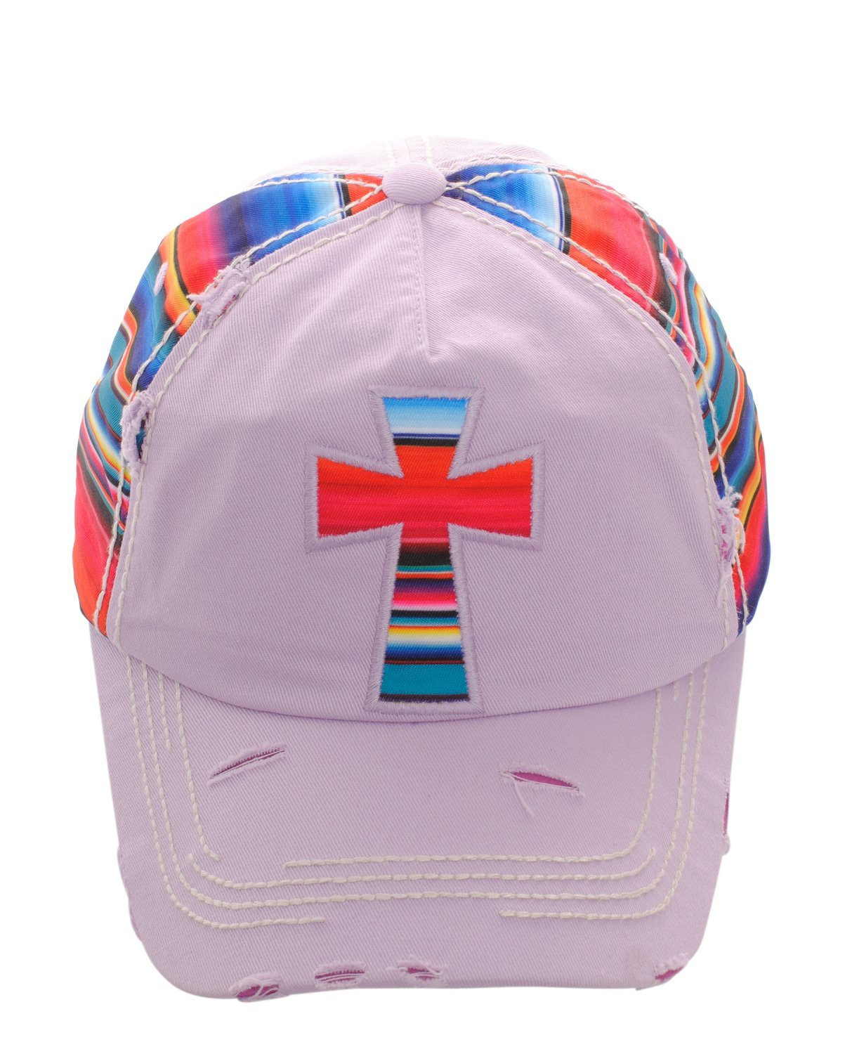 Distressed Serape Striped Cross or Cactus Baseball Cap Hat Adjustable (Light Pur