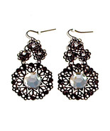 Black Filigree Circle Clear Faux Crystal Dangle Earrings French Wires - ... - $5.00
