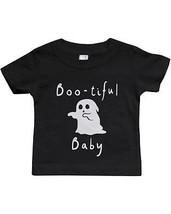 Boo-tiful Baby with Cute little Ghost Tshirt Halloween Black Crewneck Tee - $13.99