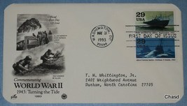 First Day Cover- World War 2 Allied Forces Battle U-Boats Italy Invaded by Allii - $8.00