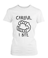 Careful I Bite Funny Women's Tshirt White Crewneck Graphic Tee for Hallo... - $14.99+