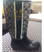 RARE AUTHENTIC Coach TRISTEE C Black/Gray Rubber Rain Boot US Size 7MB MEDIUM  - $69.99