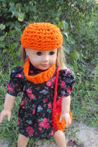 "Autumn Accessory Set for AG American Girl 18"" Doll Orange Crochet Hat Pu... - $20.00"
