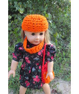 "Autumn Accessory Set for AG American Girl 18"" Doll Orange Crochet Hat Pu... - $25.00"