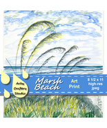 Art Print 8x10 Inches Digital Jpeg Beach Grasses Ocean Sky - $15.75