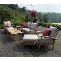 Patio Seating Set 7-Piece Teak Wood Cushioned Berkley Outdoor Furniture ... - $2,205.98