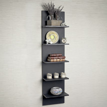 5 Shelf Black Floating Wide Column Wall Mount Flush Collectible Book She... - $104.14