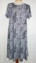 LuLaRoe Pullover Dress Womens M High Low Gray With Black Flowers Short S... - $16.44