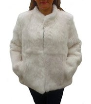 Alpakaandmore, Womens Chinchilla Rabbit Fur Jacket, White (X-Large) - $460.60
