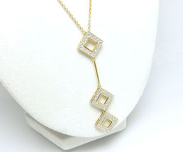 3 Tier Drop Technibond Diamond Accet Gold Penda... - $49.00