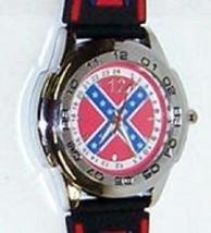 NEW REBEL (CONFEDERATE) FLAG WRIST WATCH THE REBEL FLAG ON THE FACE AND ... - $13.98
