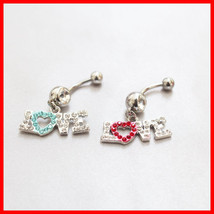 "Belly Button Rings ""LOVE"" Dangle Navel Ring Two Tone - $6.99"