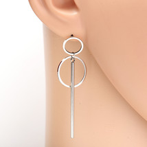 Stylish Silver Tone Designer Drop Earrings with Dangling Circles & Bar - $16.99