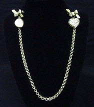 Locket Double Oval Heart Pins Bows Gold Tone Sweater Chain Links Vintage... - $15.98