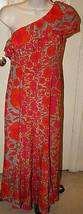 Nanette Lepore One Shoulder Silk $400 Pink Orange Floral Dress Sz 2 Long... - $187.39 CAD