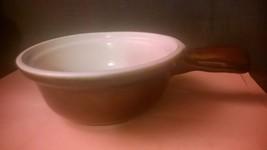 Brown White Stoneware Soup Crocks with handle USA DOVE - $7.50