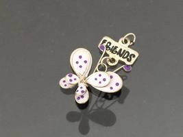 Vintage Jewelry Silver-Tone FRIENDS glass bead Butterfly Charm Pendant - $5.50