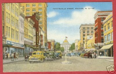 Primary image for Raleigh NC Postcard Cars Fayetteville St Linen BJs