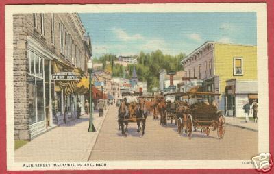 Primary image for Mackinac Island MI Main PO 1939 Linen Postcard BJs