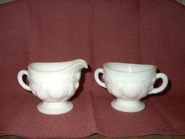 Vintage Westmoreland Milkglass Footed Cream & Sugar- Della Robbia 1058,F... - $19.99