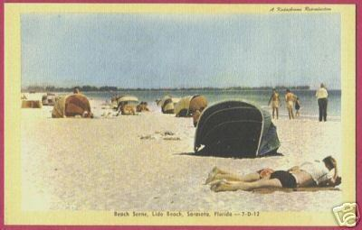 Primary image for SARASOTA FLORIDA Lido Beach Bathers Linen FL