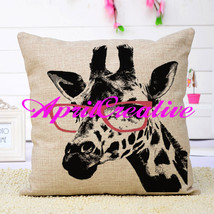 Giraffe Print Fabric Pillow Cover, Cool Animal Throw Home Decor Pillow C... - $16.99