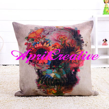 Sugar Skull Pillow Cover, Floral Skull Throw Pillow Cover, Decor Pillow ... - $16.99