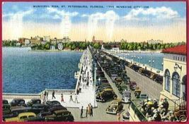 ST PETERSBURG FLORIDA Municipal Pier Cars Linen 1937 FL - $6.00
