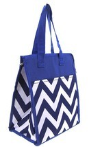 ROYAL BLUE CHEVRON ZIG ZAG PRINT CANVAS LUNCH TOTE BAG WITH THERMAL LINING! - $19.95