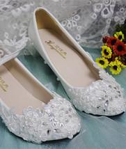 Wedding Shoes,Lace Bridal Shoes,Lace Bridal Shoes,Pearl Bridal Shoes,4.5cm heels - $48.00
