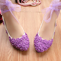 Wedding Shoes,Lace Ankle Straps Bridal Flats,Someting Purple Wedding Fla... - £39.12 GBP