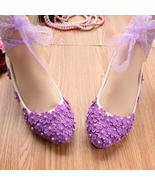 Wedding Shoes,Lace Ankle Straps Bridal Flats,Someting Purple Wedding Fla... - $48.00