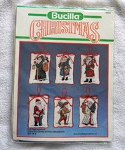 New Bucilla Christmas Old Time Santas Cross Stitch Ornaments Kit Set Of 6 - $18.76
