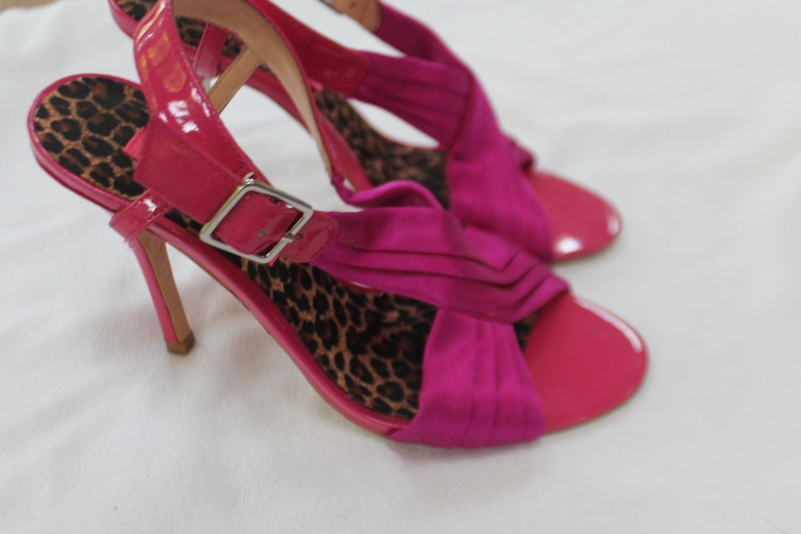 BETSEY JOHNSON SIZE 6 1/2 M HOT PINK!! OPEN TOE FABRIC SHOES SANDALS FORMAL