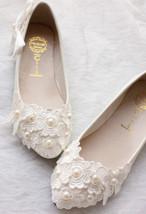 Lace butterfly Bridal Flats,Floral Lace Bridal Flats,White Bridesmaids Flats - $48.00