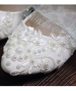 Wedding Shoes,Lace Bridal Shoes,Bridesmaids Shoes,White/Iviry Wedding Flats - $48.00