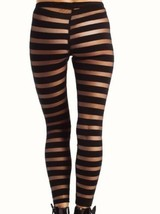 MILKYWAY Semi Sheer STRIPED Leggings Footless Blue SMALL Free Shipping - $49.47
