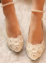 Wedding Shoes,Lace Bridal Shoes,Bridesmaids Shoes,White/Iviry Wedding Flats - £38.61 GBP