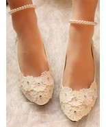 Wedding Shoes,Lace Bridal Shoes,Bridesmaids Shoes,White/Iviry Wedding Flats - £39.12 GBP