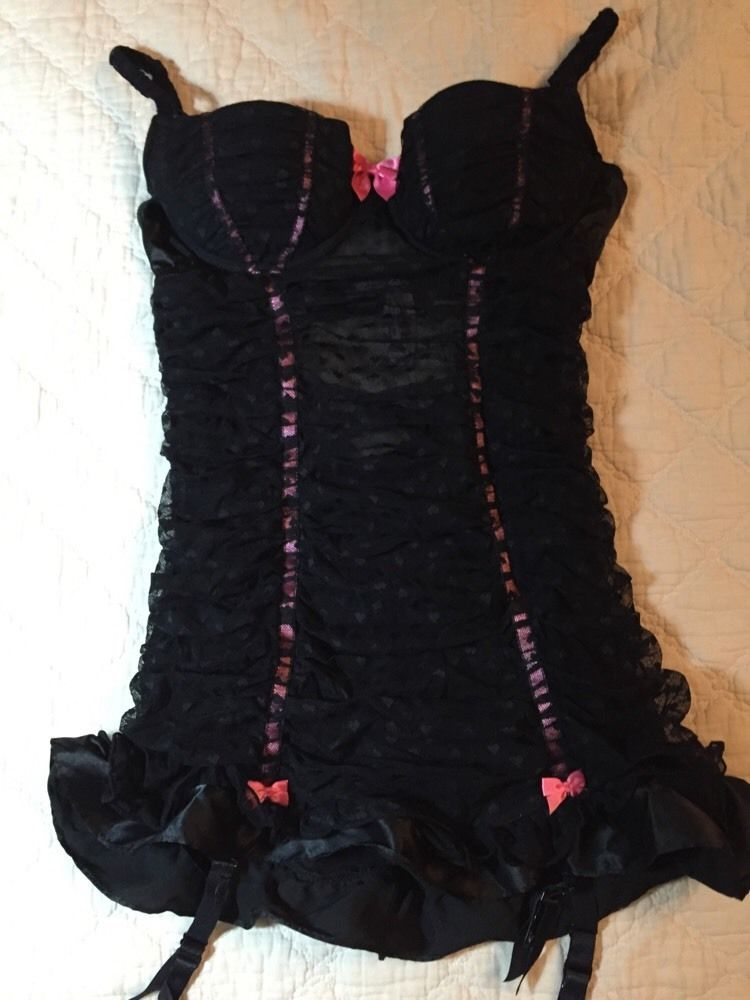 Victorias Secret Sexy Little Thing Teddy Nightie Size 36b Black Pink Teddies