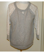 GAP WOMEN'S grey & white lace SLEEVEs KNIT TOP SIZE S lounging sweat sui... - $4.99